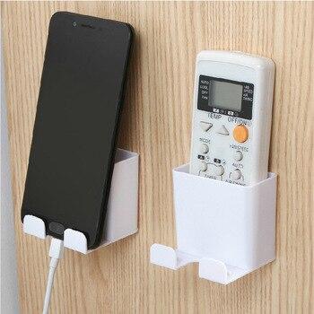 1PC teléfono soporte de pared estante de almacenamiento para montar en paredes de soporte de Control remoto Smartphone colgante móvil carga de Tablet