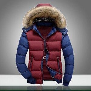 Image 1 - Winter Warm Men Jacket Fur Casual Hooded Male Thick Parka Coats Solid Patchwork Zipper New Mens Sportswear Windbreaker Outwear