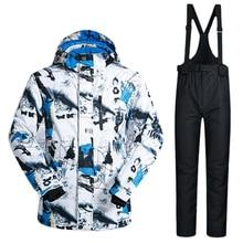 Fashion Men Ski Jacket and Pants Warm Mountain Snow Jacket Pants Winter Warm Adjustable Waterproof