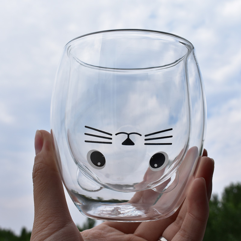Double Insulated Glass Cup Creative Big Eye Cat Pattern Couple Cup Wine Glass For Whiskey Brandy Wine Vodka Beer Cocktail Rum image