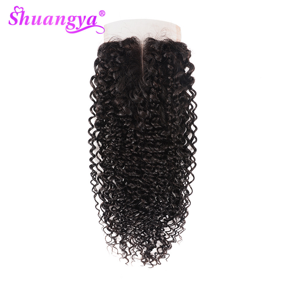 Shuangya Hair Kinky Curly Closure 4x4/5x5 Swiss Lace Closure Free/Middle/Three Part Human Hair Closure Remy Hair Natural Color
