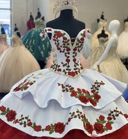 Gorgeous Embroidery Charro Quinceanera Dresses Off The Shoulder Bow Tiered Satin Ball Gown Sweet 16 Dress