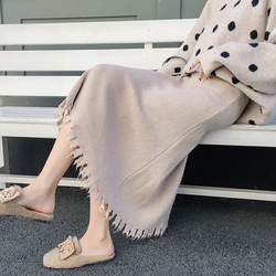 Photo Shoot Autumn And Winter Women's 2018 New Style Korean-style WOMEN'S Wear Knitted Yarn Tassels Mid-length Slimming A- line