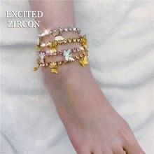 Женский ножной браслет с бабочками роскошные изысканные стразы