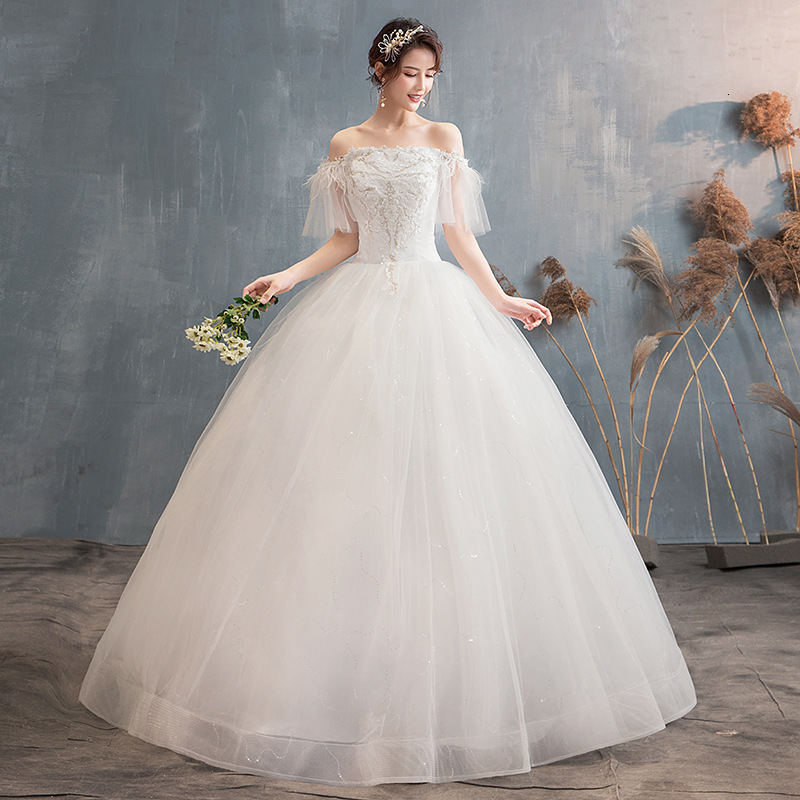 Elegant White Wedding Dresses Ball Gown Off The Shoulder Ruffles Sleeve Appliques Lace Up Formal Bride Gowns Vestido De Noiva
