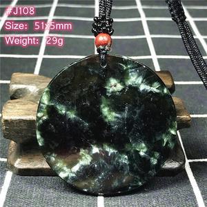 Image 3 - למעלה טבעי ירוק Seraphinite תליון שרשרת לאישה ליידי גברים מזל קריסטל עגול חרוזים אבן מתכוונן חבל תכשיטי AAAAA
