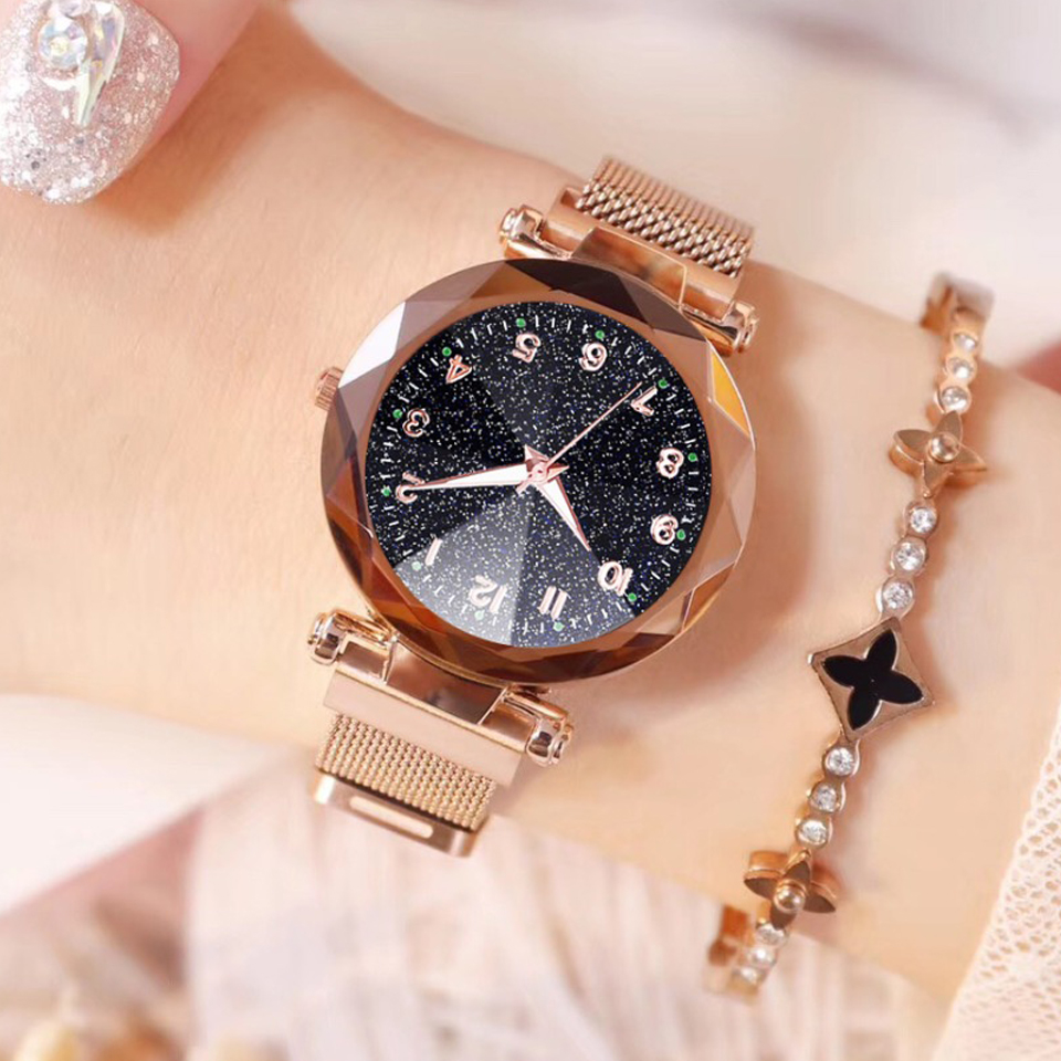 2019 Women Watches  Fashion Luxury Stainless Steel Magnetic Buckle Strap Refractive Surface Luminous Dial Ladies Quartz Watches