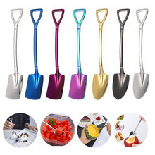 Stainless Steel Coffee Spoon Retro Shovel Shape Multi-Color Ice Cream Spoon Fork Long Handle Coffee Ice Cream Cute Spoon