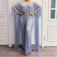 T93 Ballroom dance costume female evening dress long tassels sleeve party wear sequins Siamese trousers rhinestone wide pants dj