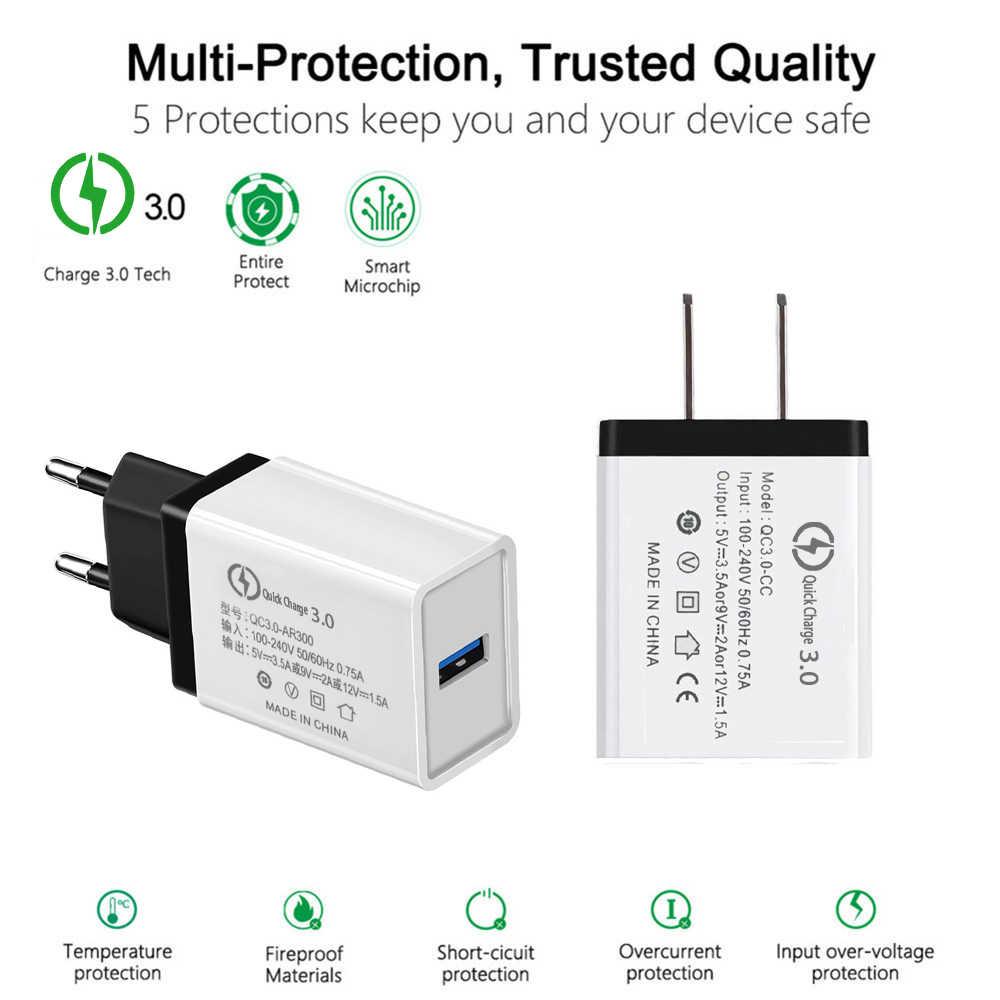 18 Вт EU/US Быстрая зарядка QC 3,0 быстрое зарядное устройство USB зарядное устройство для телефона настенное зарядное устройство адаптер для Samsung Xiaomi Huawei iphone 6 7 8 X XR 11