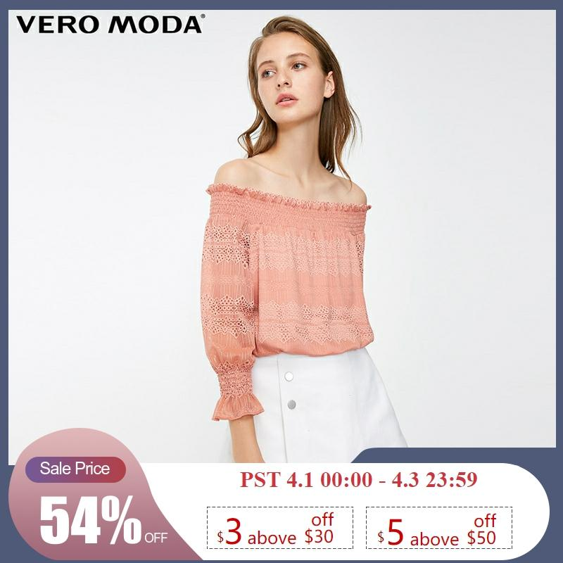 Vero Moda Women's Off-shoulder Laced Boat Neck 3/4 Sleeves Tops | 318330506
