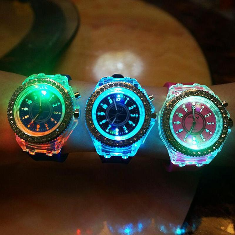 Fashion Couple Luminous Watch Luminous Colorful Water Diamond English Watch Silicone Crystal Couple Watch