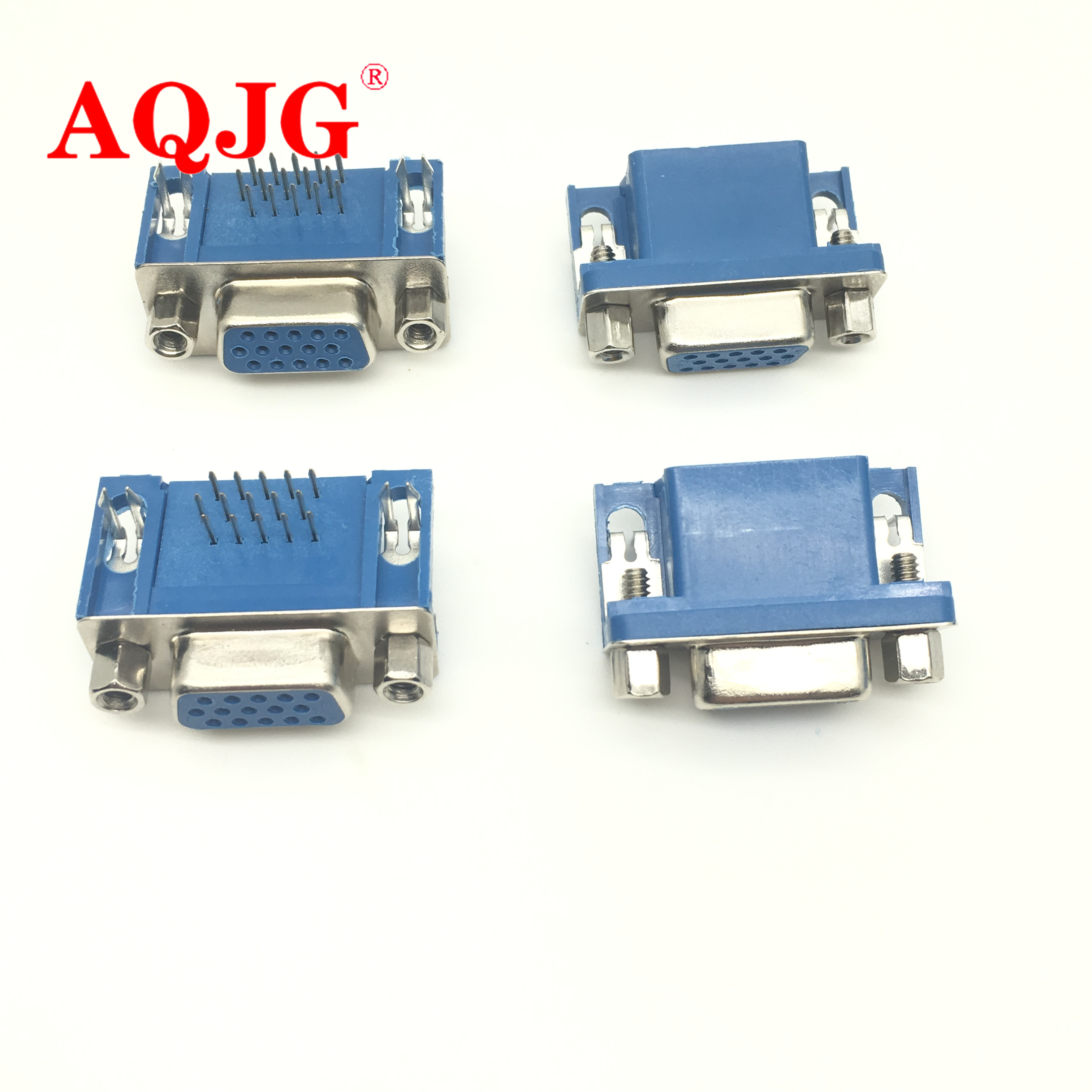 5PCS DB15 DR15 FEMALE PCB Mount CONNECTOR RIGHT ANGLE D-Sub 3Rows Blue Parallel Port CONNECTORS 15pin 15 Pin VGA Socket Adapter