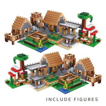 Mój świat Farm Cottage Village budowa domu bloki z figurkami kompatybilne 21128 DIY cegły zabawki dla dzieci tanie i dobre opinie 7-12y 12 + y CN (pochodzenie) Unisex Mały klocek do budowania (kompatybilny z Lego) Certyfikat Kompatybilne z lego minecraft