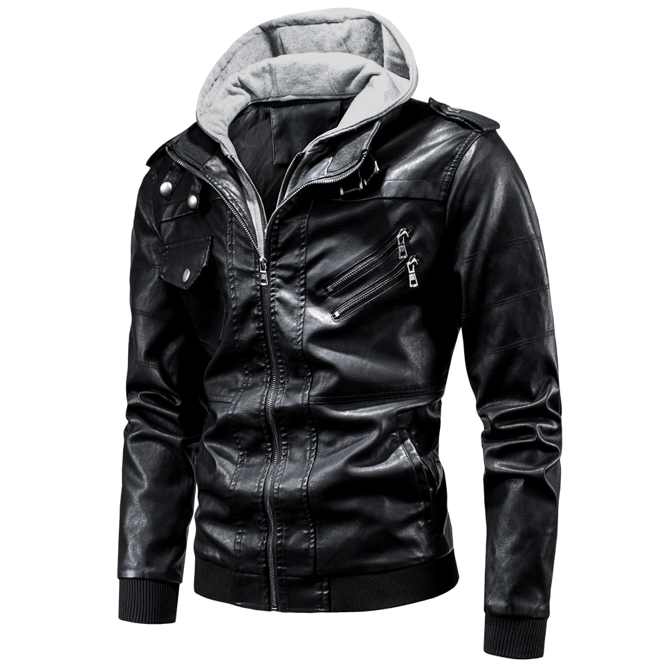 4XL Men 2020 Spring Casual Motor Hooded Zip PU Leather Jackets Coat Men Autumn Outwear Fashion Punk Style Hat Leather Jacket Men