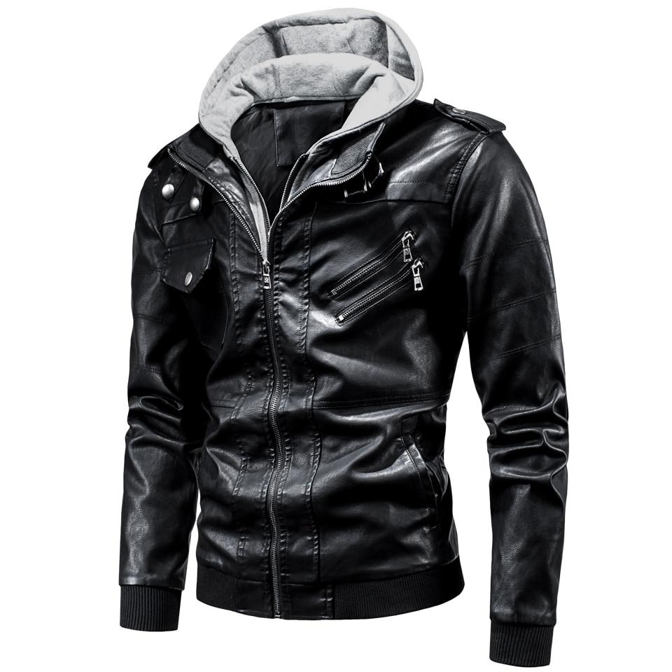 4XL Men 2020 Spring Casual Motor Hooded Zip PU Leather Jackets Coat Men Autumn Outwear Fashion Punk Style Hat Leather Jacket Men
