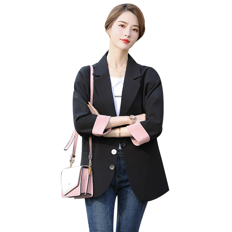 Green Blazer Women Full Sleeve New Fashion Korean Style Loose Spring Autumn Single Breasted Small Suit Jacket Blazer For Women