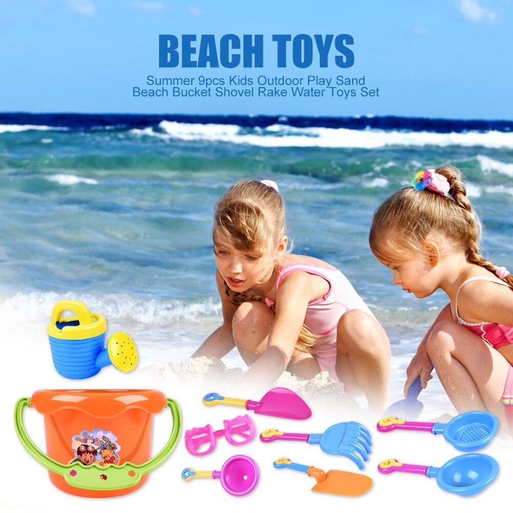 Summer Fun 9Pcs Toddler Kids Children Outdoor Play Sea Sand Beach Bucket Shovel Rake Toys Set Classic Baby Water Game