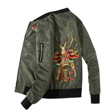 Bomber Jacket Men Chinese Monkey King Embroidery Pilot Jacket Retro Punk Hip Hop Autumn Youth Streetwear High Street Hipster New(China)