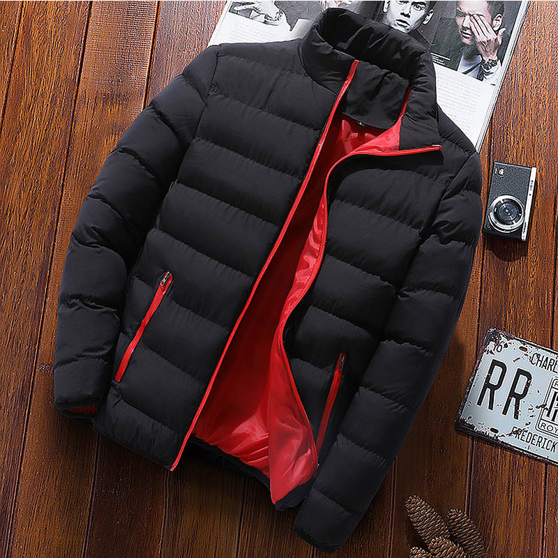 Coats Parka-Jackets Padded Outwear Windbreak Collar Solid-Stand Warm Male Thick Men Winter