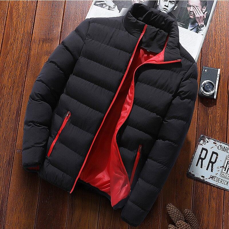 Новая теплая Толстая Мужская парка, зимняя повседневная мужская верхняя одежда, пальто, однотонная Мужская ветрозащитная хлопковая стеган...