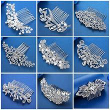 Mecresh de Color plata de diamantes de imitación de la flor de hoja peineta para novia para chicas adornos de cristal para el pelo de la joyería accesorios para el cabello de boda