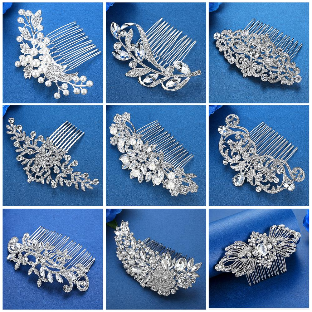Mecresh Silver Color Rhinestone Flower Leaf Bridal Hair Comb for Girls Crystal Hair Ornaments Jewelry Wedding Hair Accessories