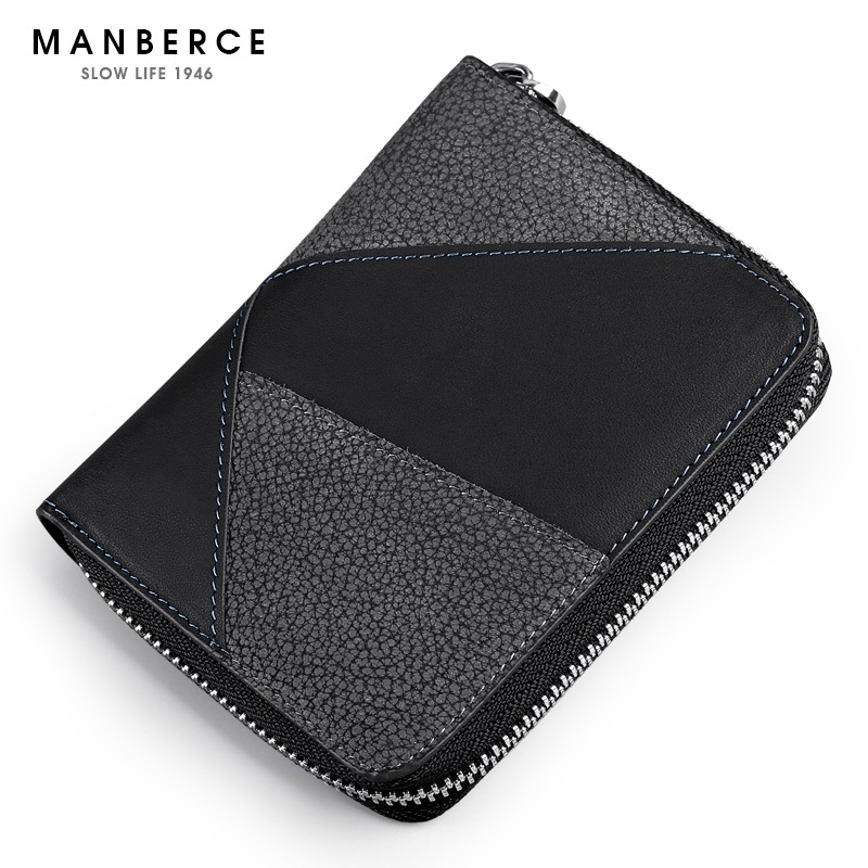 MANBERCE 2019New Mens New Genuine Leather Wallet Short Upright Head Zipper Splice Free Shipping