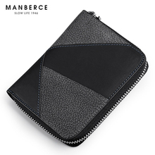 MANBERCE 2019New Mens New Genuine Leather Wallet Short Upright Head Zipper Splice Free Shipping