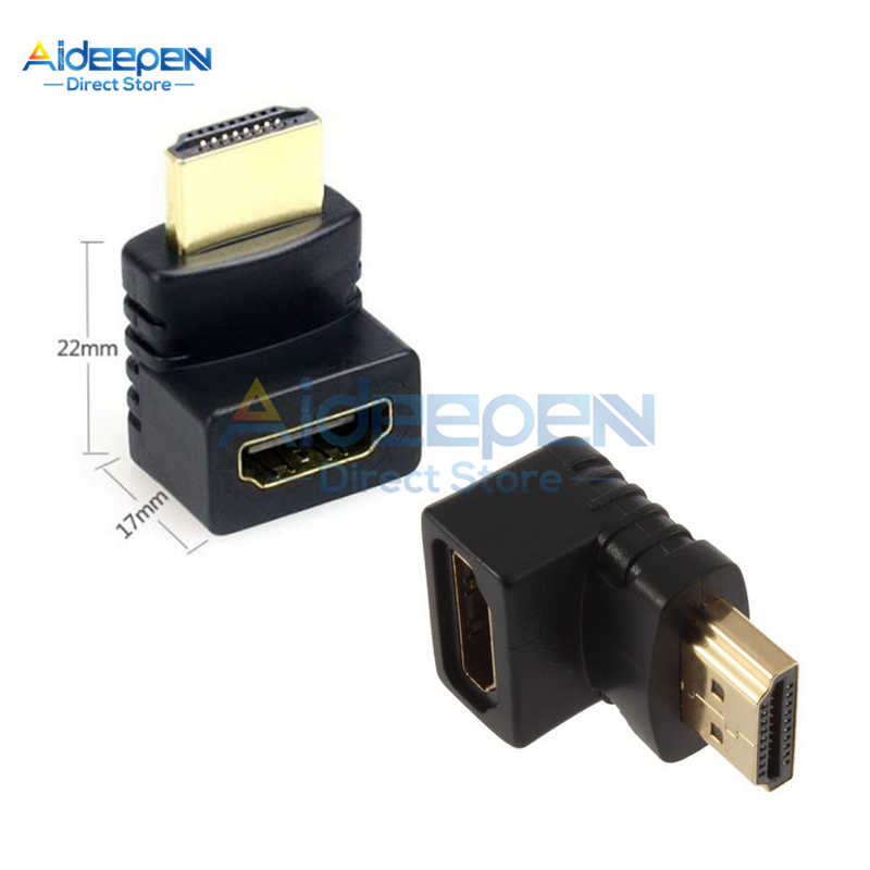 90/270 Derajat HDMI Right Angle Male Ke Female Adaptor Konektor untuk 3D 4K 1080P HDTV Kabel Adaptor Converter extender
