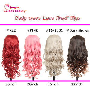Image 3 - Synthetic Lace Front Wig For Black/White Women Long Ombre Body Wave Wig Red Brown Pink 613 High Temperature Fiber Golden Beauty
