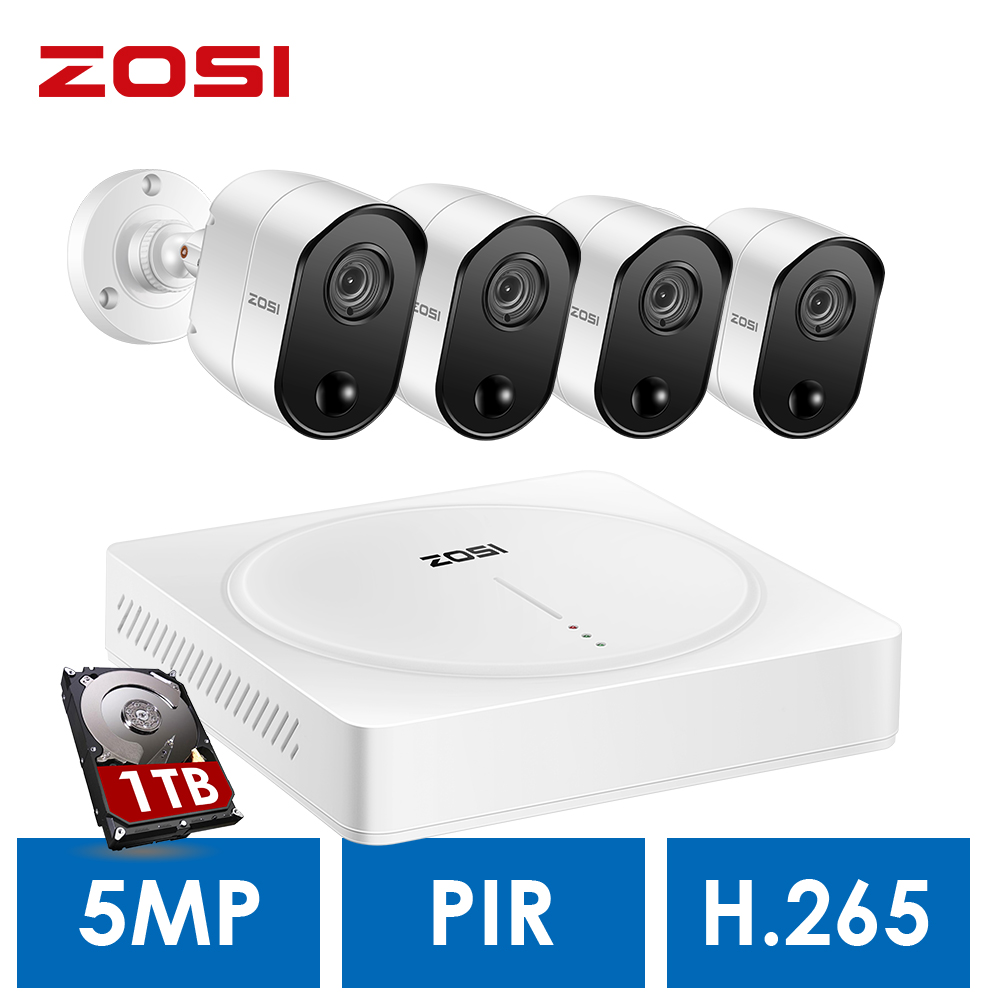 ZOSI 5.0MP H.265 Home Surveillance System 8 Channel CCTV DVR With HDD And (4) X 5MP PIR Outdoor/Indoor Security Cameras Kit