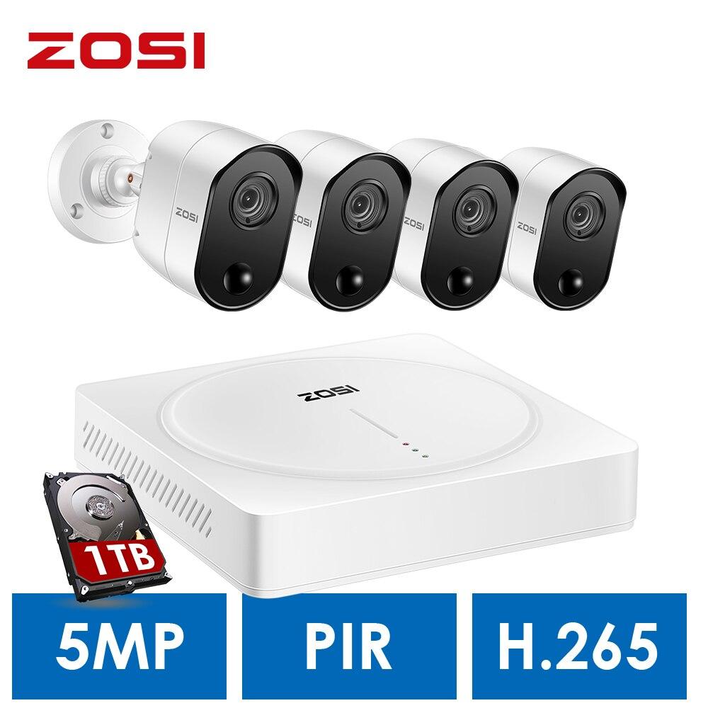ZOSI 5.0MP H.265 Home Surveillance System 8 Kanal CCTV DVR mit HDD und (4) x 5MP PIR Outdoor/Indoor Sicherheit Kameras Kit