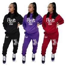 Women Fitness Pants-Set Jogger Hoodies Tracksuit Outfit Pink Two-2piece-Set Letter Active