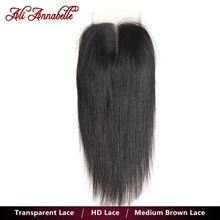 Closure 4x4 Human-Hair Lace Straight ANNABELLE Brazilian ALI Swiss Transparent