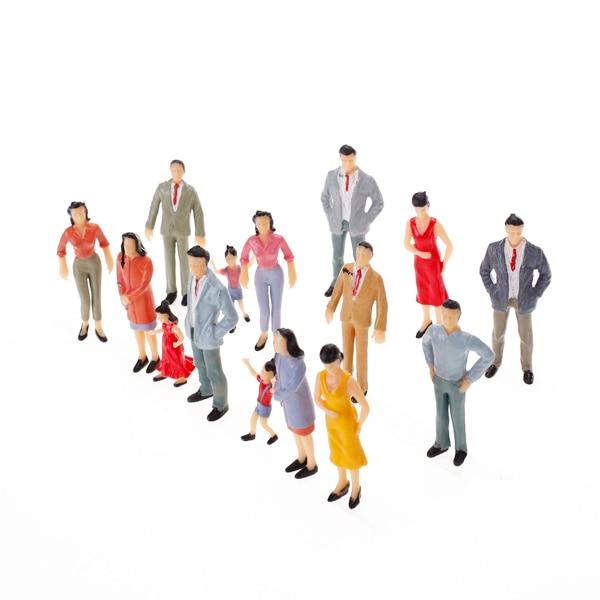 100 pces n escala pintado figura modelo trem parque rua passageiros pessoas decoração