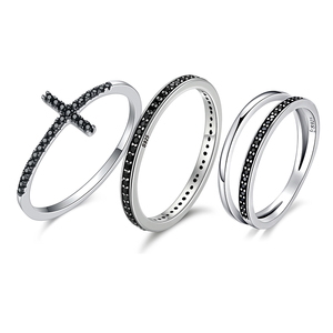 Image 1 - WOSTU Authentic 925 Sterling Silver Finger Stackable Rings With Black CZ For Women Fashion Jewelry Fine Gift FIR114