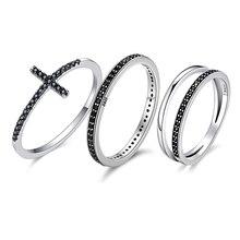 Wostu Authentieke 925 Sterling Zilver Vinger Stapelbaar Ringen Met Zwarte Cz Voor Vrouwen Mode sieraden Fijne Gift FIR114