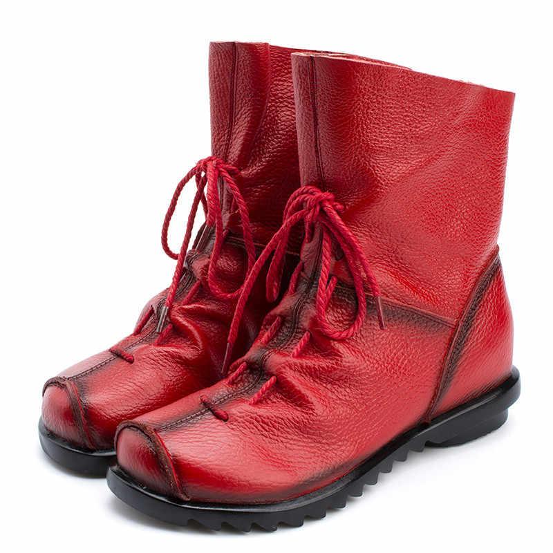 Mode Vrouwen Laarzen Lederen Enkellaarsjes Plus Size Mid-kalf Laarzen Cowboy Vrouwen Schoenen Winter Laarzen Laarsjes Vrouwelijke schoeisel