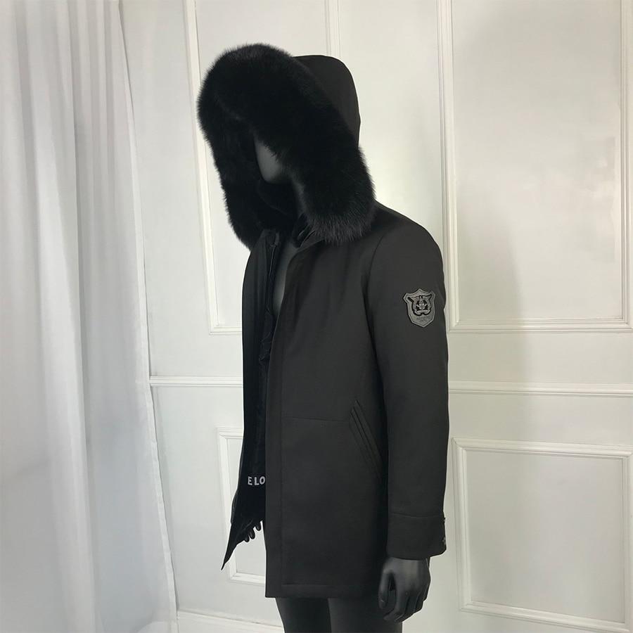 Real Raccoon Fur Jacket Men Natural Rabbit Fur Coat Winter Warm Removable Rabbit Fur Liner Parkas Raccon Fur Collar Casual Men'