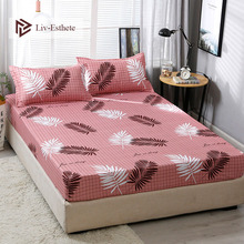 Liv-Esthete Fashion Leaf Polyester Fitted Sheet Pillowcase Soft Mattress Cover Bed Linen Bed Sheet On Elastic Band Queen King куртка утепленная tommy jeans tommy jeans to052emdebf0