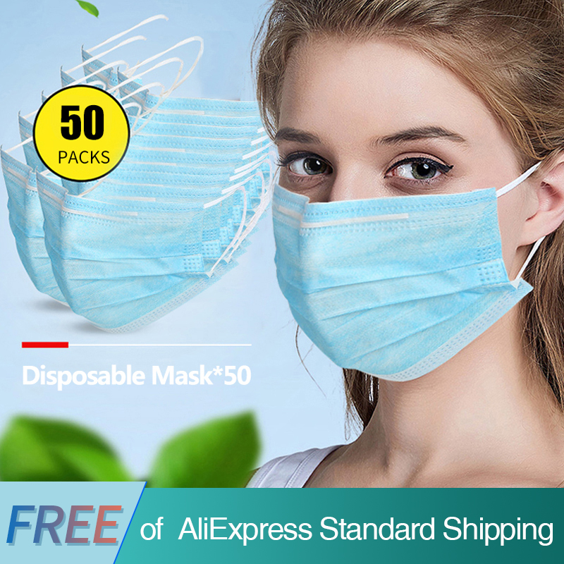 COVID-19 Perfessional Mask 50pcs 3 Ply Non Woven Disposable Face Mask Anti Pollution Dust Flu Earloop Mask