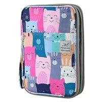 192 slots de grande capacidade saco de lápis caso organizador saco de cosméticos para lápis colorido aquarela caneta marcadores gel canetas saco (aprender gato