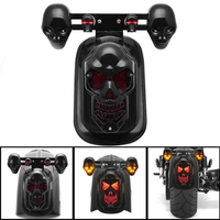 Chrome Skeleton Style Modified Motorcycle LED Skull Taillight With Turn Signal Motorbike Tail Lights Plus Steering Styling 2
