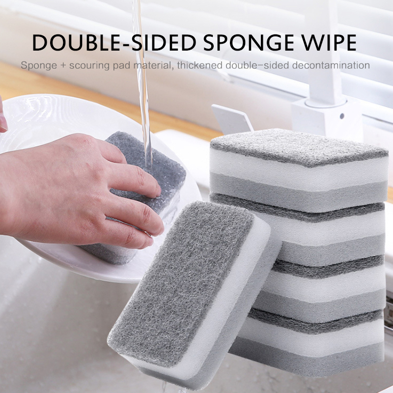 5pcs Home Double sided Cleaning Sponge Scouring Pad Cleaning Sponges Household Cleaning Tools cocina accesorio Dropshipping Hot