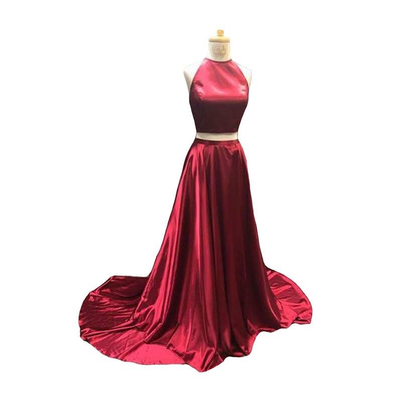 Halter Prom Dress 2020 Two Piece Long Gown For Party Corset Back Floor Length A-line Prom Gown For Women Satin Vestido De Festa