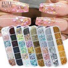 Poudres pour vernis à ongles style hologramme, 12 en 1, accessoire pour nail art, pour gel en acrylique, rose, or, argent, paillettes, CH1585