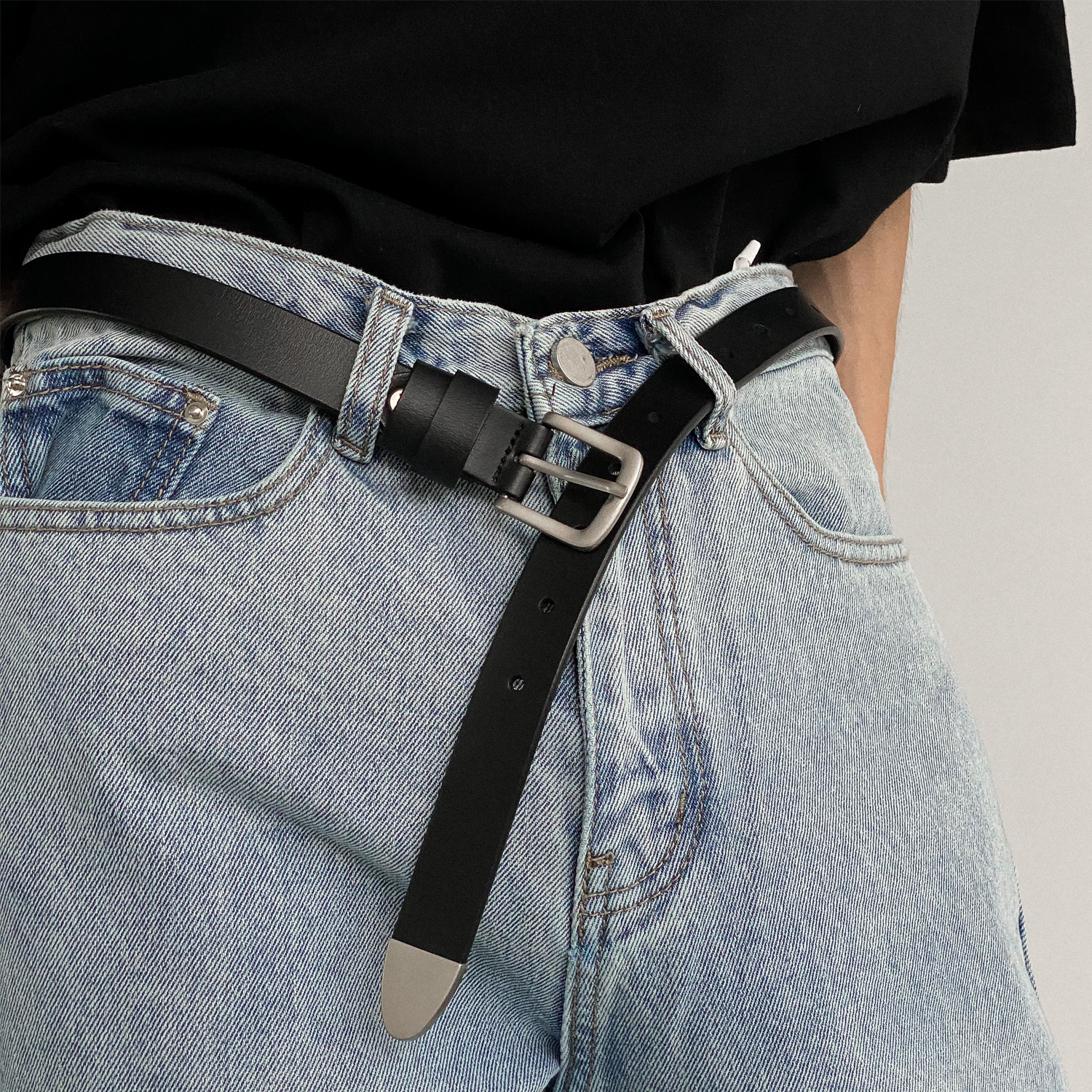 ins style all-match exquisite single product men's simple fashion personality real cowhide belt