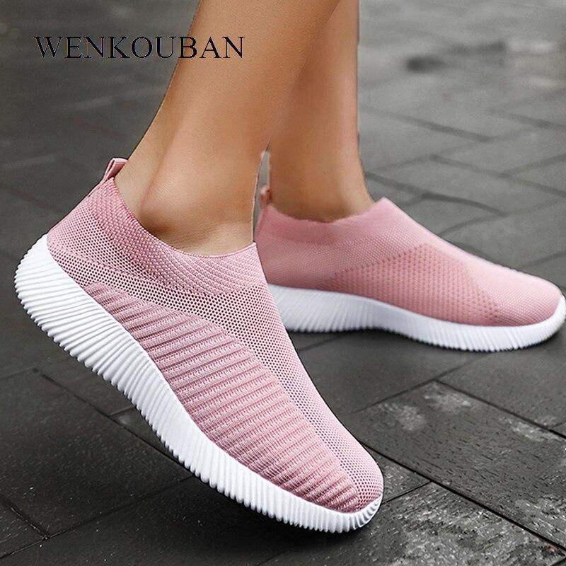 Women Sneakers Vulcanized Shoes Sock Sneakers Women Summer Slip On Flat Shoes Women Plus Size Loafers Walking Flats Basket Femme