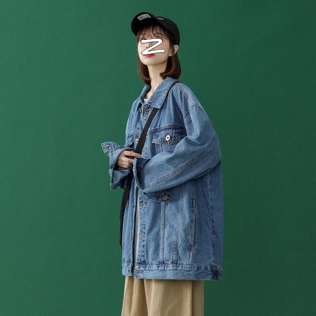 Oversize Jeans Jacket Women Pocket Loose Coats Female Turn-down Collar Blue Casual Denim Coat Women plus size 4XL 5XL